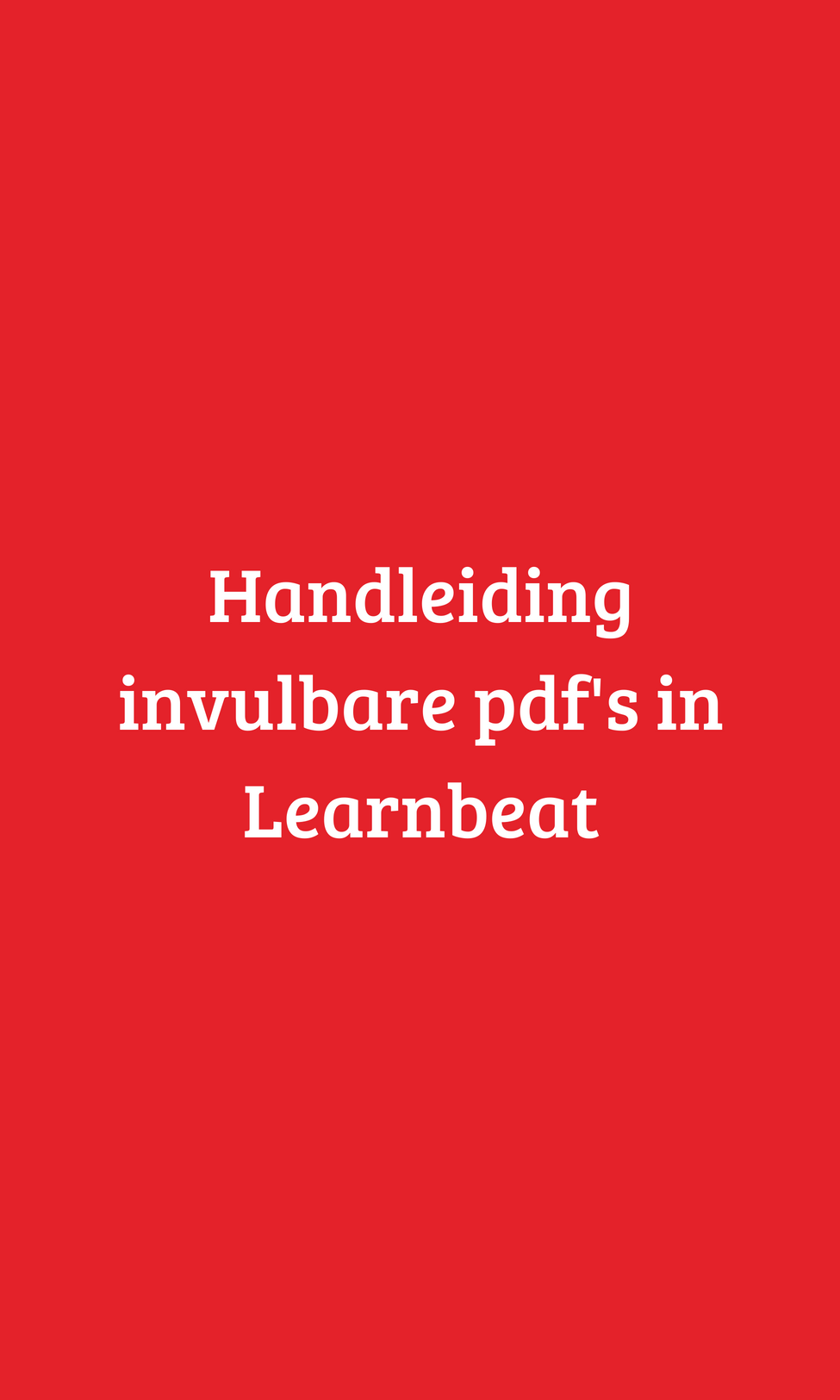 Handleiding invulbare pdfs in Learnbeat